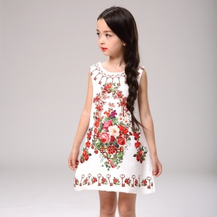 Baby-Girl-Dress-Rose-Floral-Pattern-A-Line-Princess-Dress-Girls-European-Style-Baby-Dress-Brand