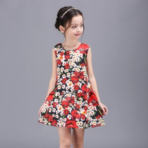 Little-Girls-Dresses-2016-Spring-Floral-Print-Princess-Dress-Girl-Costume-font-b-Luxury-b-font